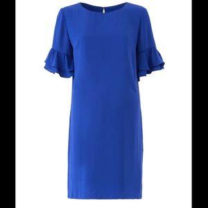 Amanda Uprichard blue crepe Ruffle Sleeve cobalt blue shift dress size Large